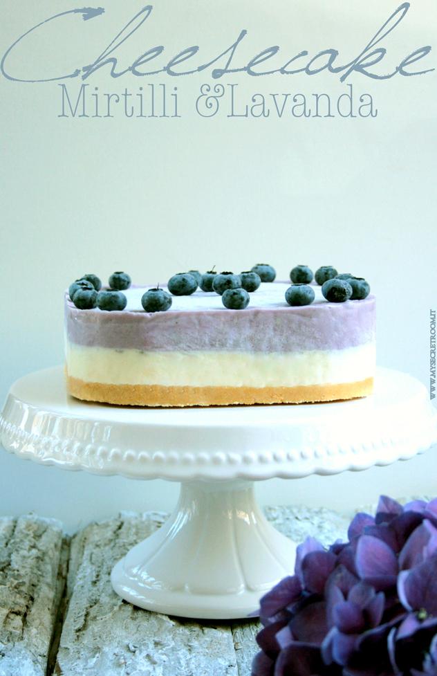cheesecake lavanda e mirtilli senza cottura