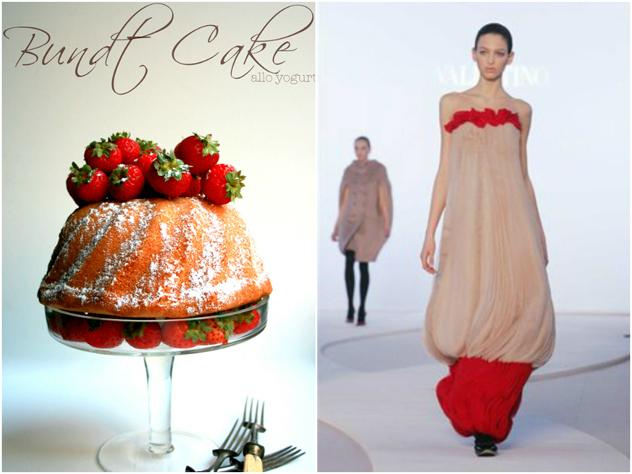 Bundt Cake ispirato dall'abito disegnato da Alessandra Facchinetti per la Maison Valentino