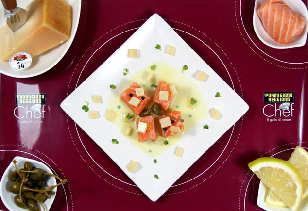 salmone su emulsione di pompelmo e coriandoli di Parmigiano Reggiano 2