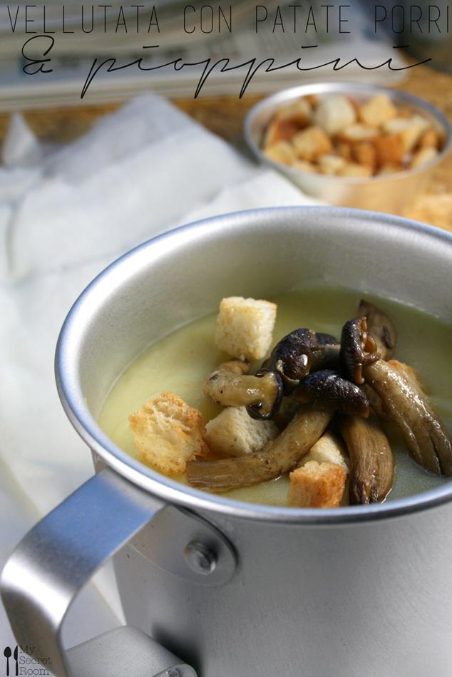 vellutata con patate porri e pioppini