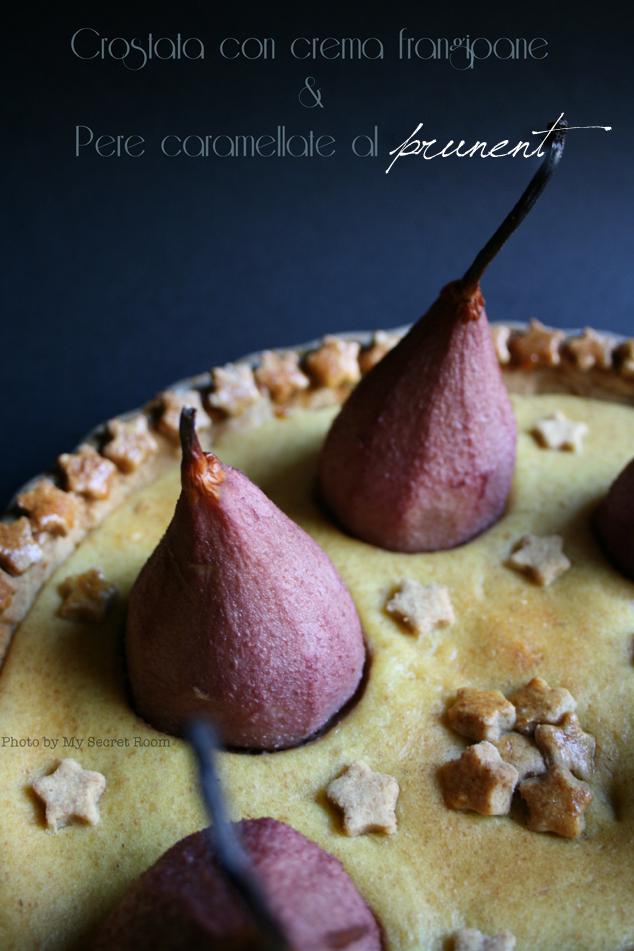 crostata con crema frangipane e pere caramellate al prunent